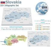 Slovakia maps with markers — Stock Vector