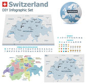 Switzerland maps with markers — Stock Vector