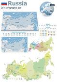 Mappe di russia con marcatori — Vettoriale Stock