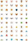 Big animals icon set — Stock Vector