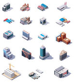 Isometric factory and office buildings set — Stock Vector