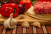 Mexican cuisine ingredients for Burrito — Stock Photo