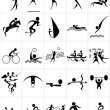 Stock Vector: Set of silhouettes of summer sport