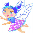 Illustration of Cute little baby fairy in fly — Stock Vector