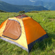 Orange touristic tent - Stock Photo