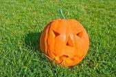 Halloween pumpgin in a grass — Stock Photo