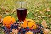 Herfst dessert wijn en een fruit — Stockfoto