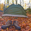 Touristic tent in autumn forest — Foto de stock #14044849