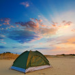 Touristic tent in a evening sand desert — Stock Photo #16184175