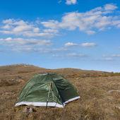 草原の緑の観光テント — ストック写真