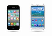 Due telefono cellulare su un bianco — Foto Stock