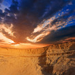 Sunset over a desert dunes — Stock Photo