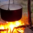 Stock Photo: Touristic cauldron on fire