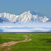 Camino entre campos de una a una montañas — Foto de Stock