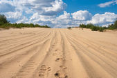 Sandy desert and a cloudy sky — Stock Photo