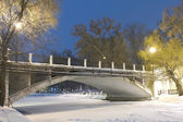 Bridge in a night city park — Stock Photo