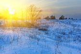 Zonsondergang in de winter — Stockfoto