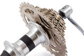 Bicycle rear hub isolated on a white — Stock Photo