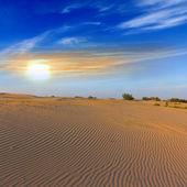 Sandy desert at the sunset — Stock Photo