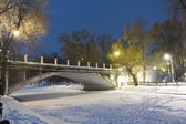 Night city scene brodge over a frozen river — Stock Photo