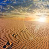 Stylizowane zachód słońca nad piaszczysta pustynia — Zdjęcie stockowe