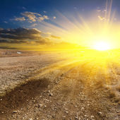 Sunset over a plains — Stock Photo
