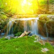 Small beautiful waterfall in a rays of sun — Stock Photo