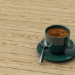 Stock Photo: Cup coffee on wooden table