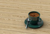 Cup coffee on wooden table — Stock Photo