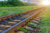 Railway in a rays of sun — Stock Photo