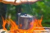 Closeup cauldron on a fire — Stock Photo