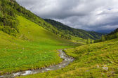 Small river among a green hills — Stock Photo