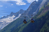 Funicular on a mountain slope background — Stock Photo