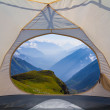 View from a touristic tent to a mountain valley — Stock Photo #33916999