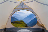 View from a touristic tent to a mountain valley — Stock Photo