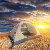 Touristic camp on a sea beach — Stock Photo