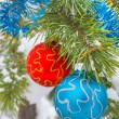 Stock Photo: Decorated pine tree branch