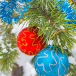 Decorated pine tree branch — Stock Photo