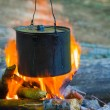 Cauldron on a fire — Stock Photo