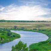 Steppe river scene — Stock Photo