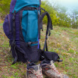 Stock Photo: Touristic backpack and boots
