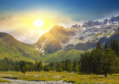 Evening mountain valley — Stock Photo