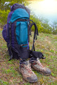 Touristic backpack and boots — Stok fotoğraf