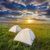 Touristic camp at the evening — Stock Photo