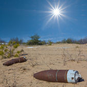 Old bomb on a sand firing — Stock Photo