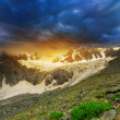 Mountain glacier at the sunset — Stock Photo