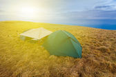 Touristic camp among a fields — Stock Photo