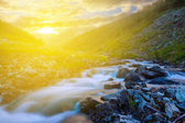 Mountain river at the sunset — Stock Photo
