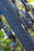 Closeup bicycle wheel — Stock Photo