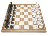 Chess pieces on a chess board isolated — 图库照片